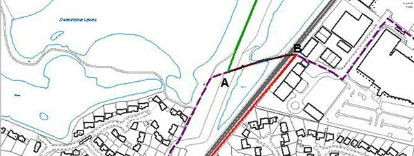 The new pathway, in red.
