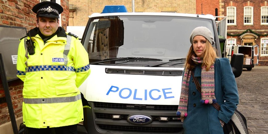 Inspector Pat Coates with victim of car crime in the city, Louise Dowky. Photo: Steve Smailes for The Lincolnite