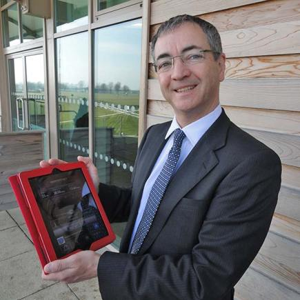Chris Lowe, Chief Executive at Linpop, shows off the speedy Wi-Fi on his iPad.