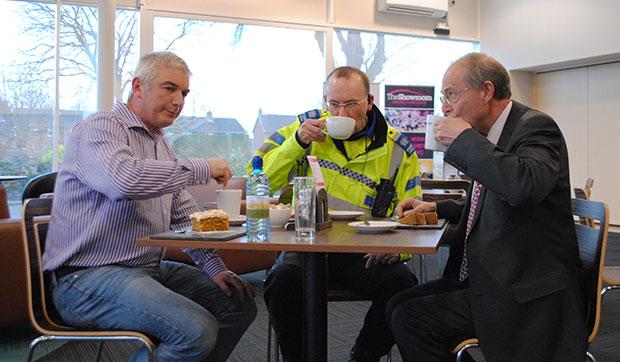 Lincolnshire YMCA Chief Executive Malcolm Barham has coffee and tea with PCC Alan Hardwick and PSCO David Freeman at The Showroom in Lincoln.