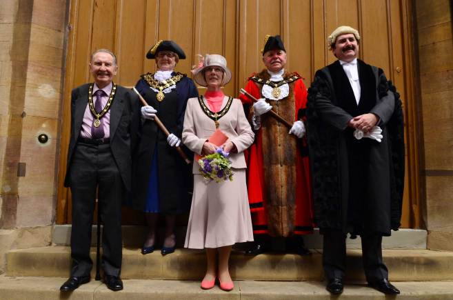 Photo L-R: Maurice Carter - Sheriff's consort; Patricia Carter - Sheriff; Lorna Stow - Mayoress; Cllr Pat Vaughan - Mayor; Andrew Taylor - Chief Executive.  Photo: Steve Smailes for The Lincolnite.