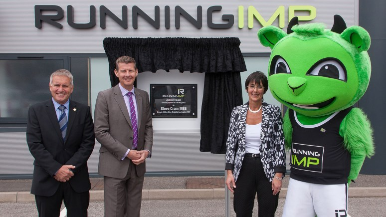 Right Caroline Birkin and far left Chris Illsley Co-Founders of Running Imp, with Olympic Silver Medallist Steve Cram.