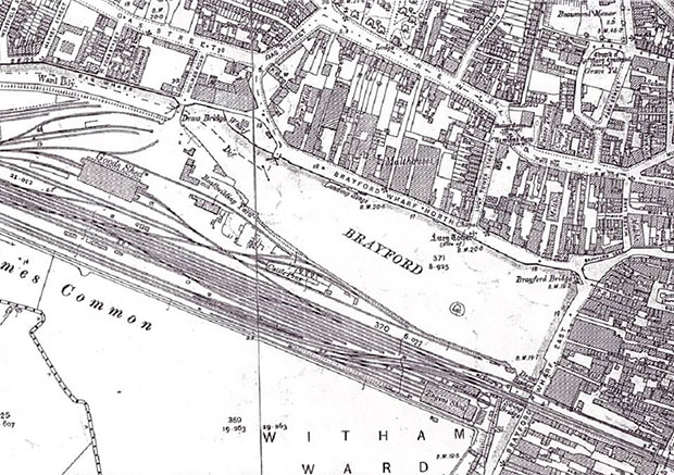 A map of Lincoln's Brayford area over 100 years ago.