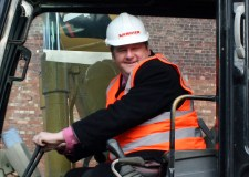 Councillor Darren Grice in 2011, when he was leader of the City of Lincoln Council, at the building site of a homeless shelter on Beaumont Fee.