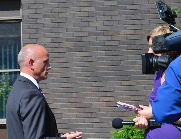 Det Supt Stuart Morrison holding media interviews at Lincoln Police Station on June 25, 2013.