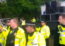 Lincolnshire Police officers attending an illegal rave in south Lincolnshire in June 2013.