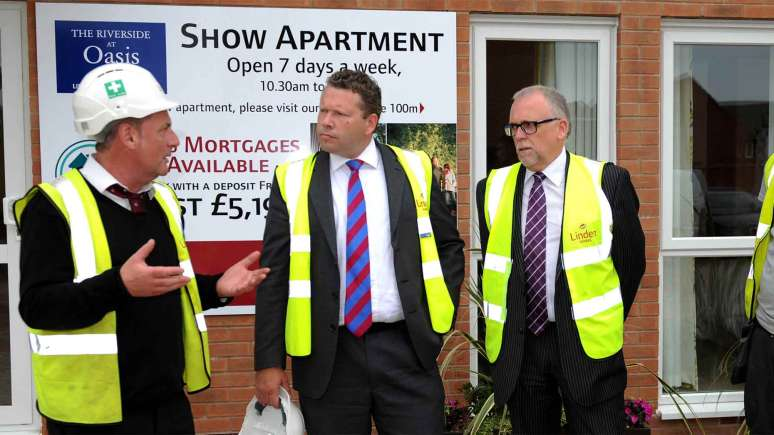 Linden Homes site manager with Lincoln MP Karl McCartney and technical director Barry Maynard.