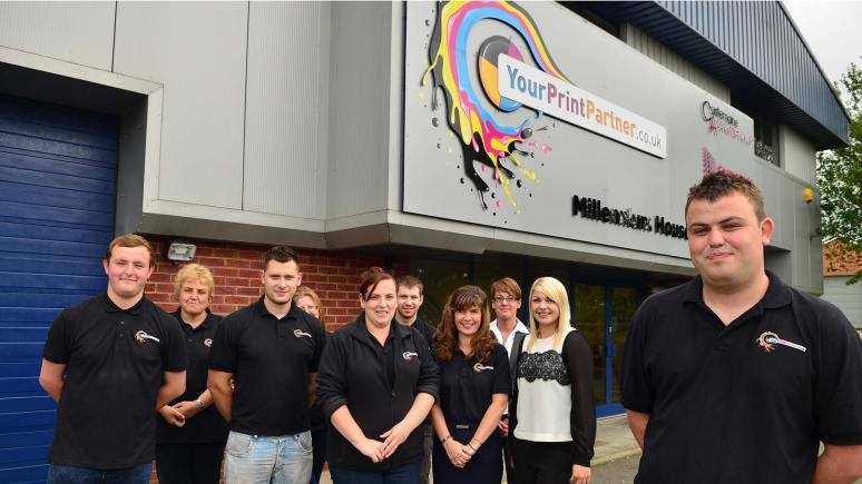 The Your Print Partner team with director Stuart Maclaren (far right) at their Millenium House offices. Photo: Steve Smailes for The Lincolnite