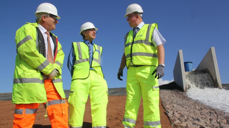 New reservoir for Lincoln (L-R): Chris Newsome, Anglian Water's Director of Asset Management – who turned on the pumps, Steve Swan, Anglian Water, and Chris Hastings, Project Manager from Galiford Try. Photo: Anglian Water