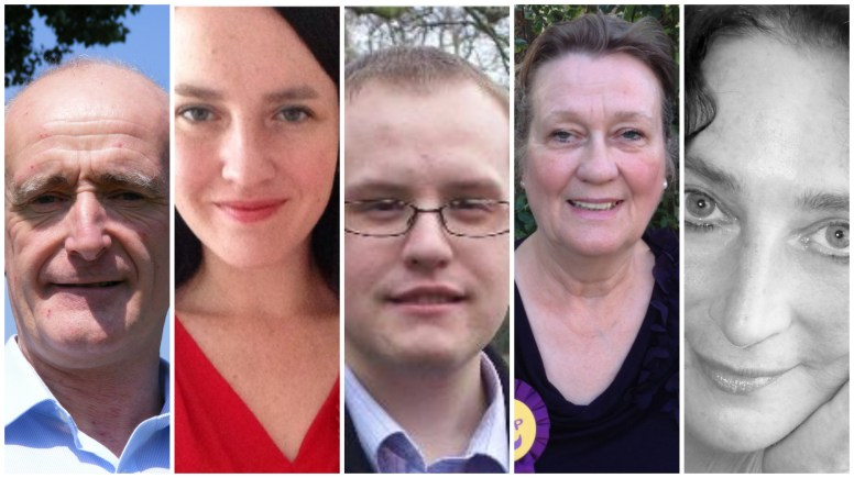 The candidates are (L-R): David Denman - Conservative, Katie Vause - Labour, Ross Pepper - Liberal Democrats, Elaine Warde — UK Independence Party, and Karen Williams — Trade Unionist and Socialist Coalition (TUSC).