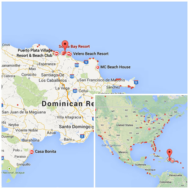 The location of Sousa Beach, on the north coast of the Dominican Republic.