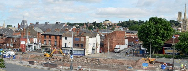 The former Oxford Hall land, which will become an extra car park for shoppers. Photo: Graham Cooling for The Lincolnite