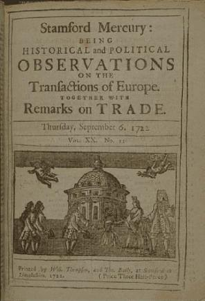"""A Stamford Mercury """"pamphlet"""" from 1722. Photo: British Library."""