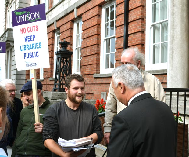 Save Lincolnshire Libraries campaigners handed in the last batch of petition signatures on September 30. Photo: File/The Lincolnite