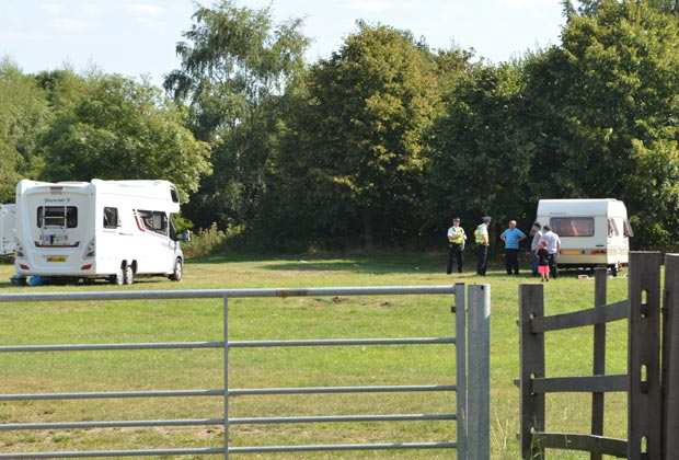 Police officers have been negotiating with the travellers to leave the South Common in Lincoln on September 5, 2013.