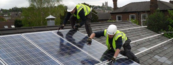 The Lincolnshire Co-op began work to instal solar panels to Lincoln foodstores  in 2011, Pictures is the installation work to the Carholme Road store. Photo: Lincolnshire Co-operative