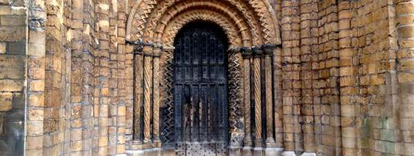The restored south west entrance to Lincoln Cathedral