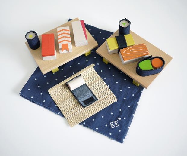 Among the unique wooden toys available at Abacus is a Kukkia sushi-making set.