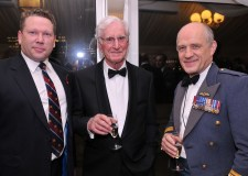 Bomber memorial appeal (L-R): Lincoln MP Karl McCartney (wearing his RAF Armed Forces Parliamentary Scheme tie) with Joe Hughes Esq. (Bomber Command Veteran) and AVM Stu Atha (AOC No 1 Group).