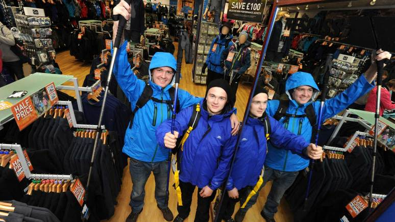 Scott Carter and Laithon Oldfield from Trespass, helping to open the new store at St Marks.