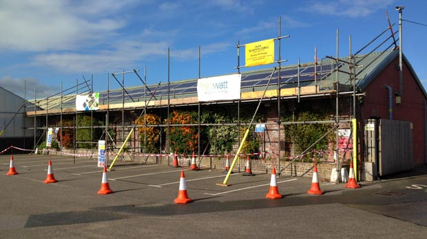 Renewable technology installation underway at Lincoln's Pennells garden centre.
