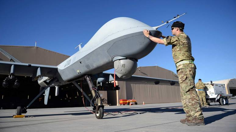 The Reaper Remotely Piloted Air System (RPAS) Photo: Sergeant Dan Bardsley