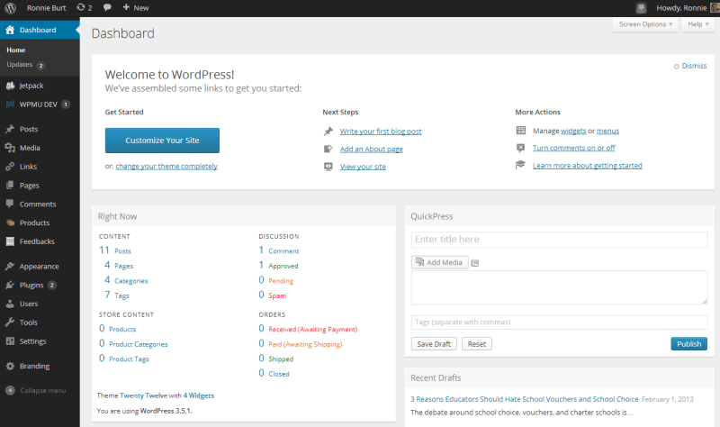 The new WordPress CMS dashboard