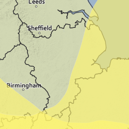 Met Office's warning for wind in the East Midlands.