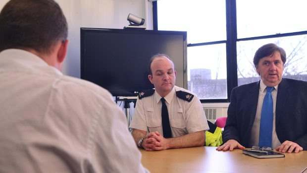 Lincolnshire Police Superintendent Phil Vickers (L) and City of Lincoln Council's John Latham at a press briefing on the anti-mosque protest on January 15. Photo: Steve Smailes for The Lincolnite