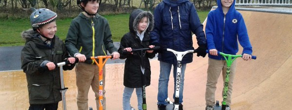 Young people in Bracebridge Heath celebrate their new skate park facility.