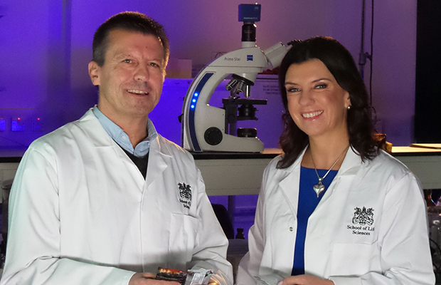 Dr Dawn with Dr Mark Baron at the University of Lincoln. Photo: UOL