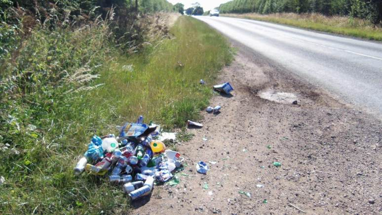 The rubbish left by Surridge at the road side. Photo: NKDC