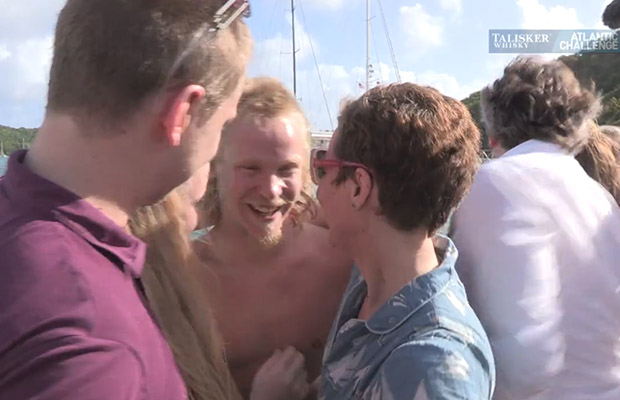 Luke was greeted by emotional friend and family when reaching solid ground.