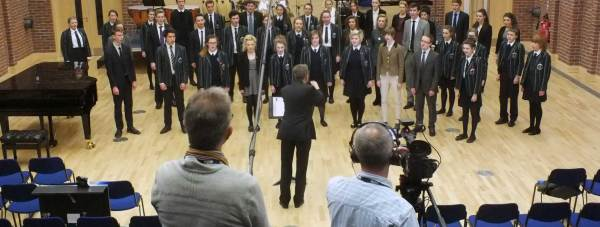 Lincoln Minster School's Chamber Choir, being recorded by the bbd.