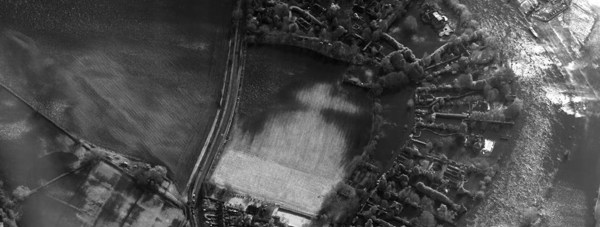 An Electro-Optical (EO) image from a Raptor reconnaisance pod fitted to a RAF Tornado GR4 aircraft of extensive floods in Bourne End, Buckinghamshire. Photo: Crown copyright