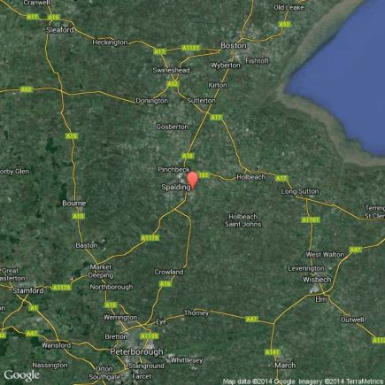 Low Fulney near Spalding in south Lincolnshire. Map data: Google