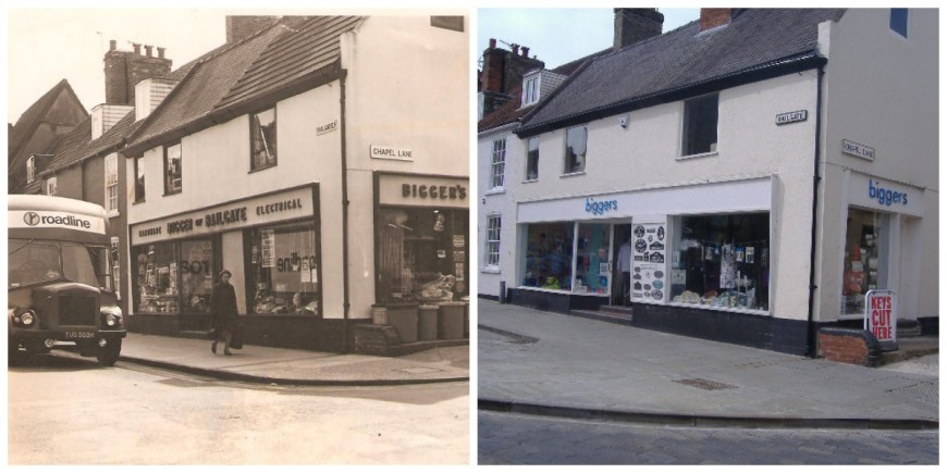 Bigger of Bailgate shop front in the 1950s compared with the shop front today. Photo: BofB