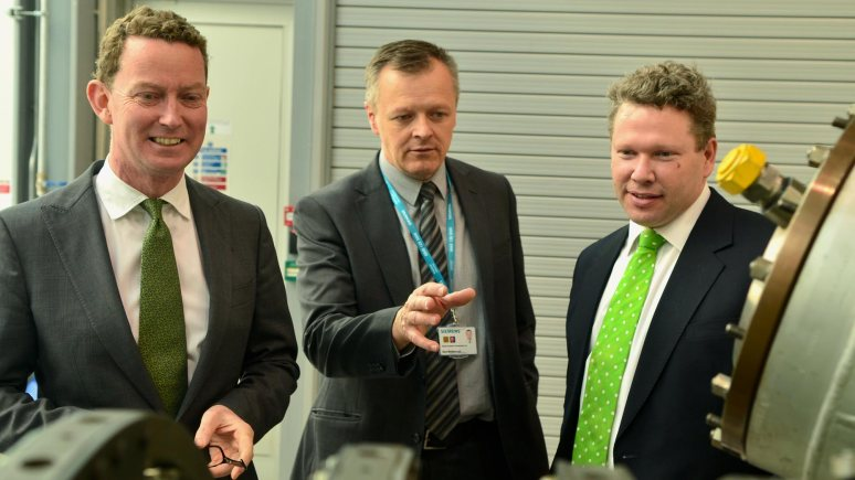 Energy and Climate Change Minister Greg Barker is given a tour of the Technology Hub at the University of Lincoln with Steve Middlebrough, Director of Service Engineering for Siemens in Lincoln and Lincoln MP Karl McCartney. Photo: Steve Smailes for The Lincolnite