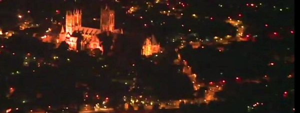 A view of Lincoln Cathedral from a Lincolnshire air ambulance. Source: SAS Night Vision Goggles video screenshot