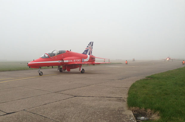 A foggy departure from RAF  Scampton for the Red Arrows.