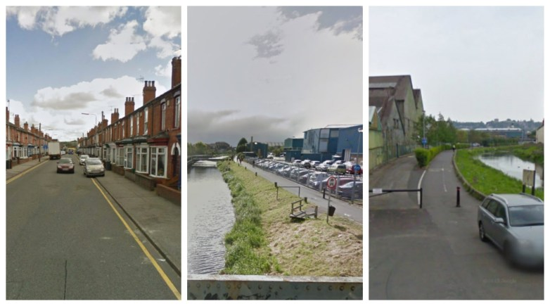 Three attempted robberies occurred in Lincoln on March 24. Locations (L to R) Dixon Street, Firth Road and Riverside near J Arthur Bowers Factory. Photos: Google Street View