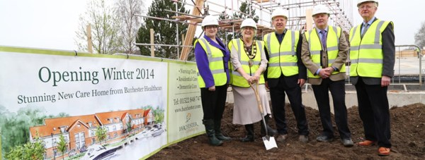 Councillor Irmgard Parrott, Chairman of the West Lindsey District Council broke ground at the site of the new Burton Waters care home. Joined by  Barchester's Regional Operational Director, Paul Draper, the homes General Manager, Helen Wilson, and members of the construction team from Castleoak. Photo: Phil Crow