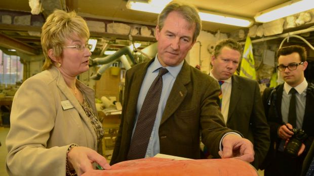 Owen Paterson, the DEFRA Secretary (centre) visiting the Lincoln Cathedral stonemasonry workshop. Photo: Steve Smailes for The Lincolnite