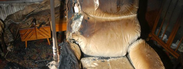 Fire damage caused by illegal cigarettes. Photo: LCC