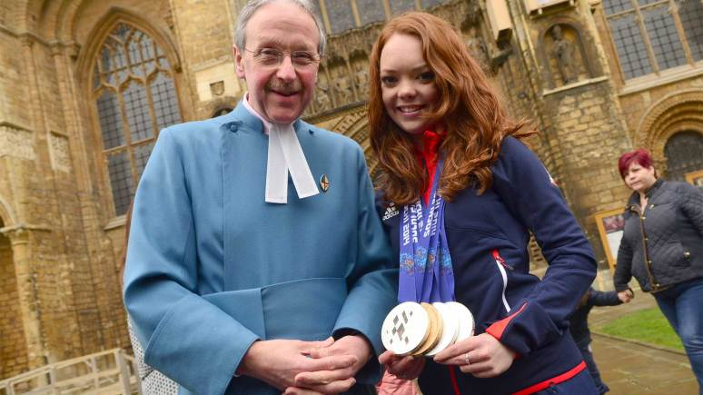 John Campbell, Dean's Verger at Lincoln Cathedral congratulated Jade. Photo: Steve Smailes for The Lincolnite