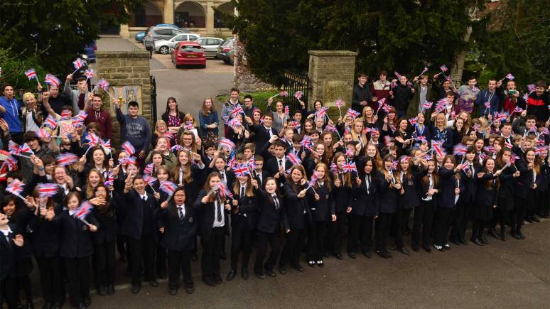 Staff and students and Lincoln Christ's Hospital School gathered outside the gates to greet Jade. Photo: Steve Smailes for The Lincolnite