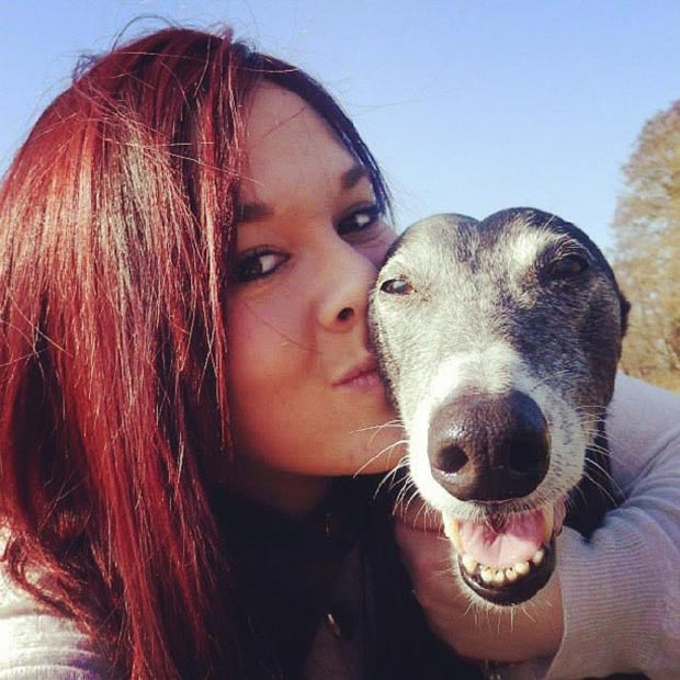 Laura and Jessie the greyhound.