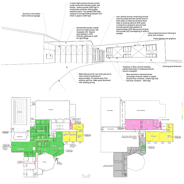 Ground plans of the refurbished sports centre. Photos: NKDC
