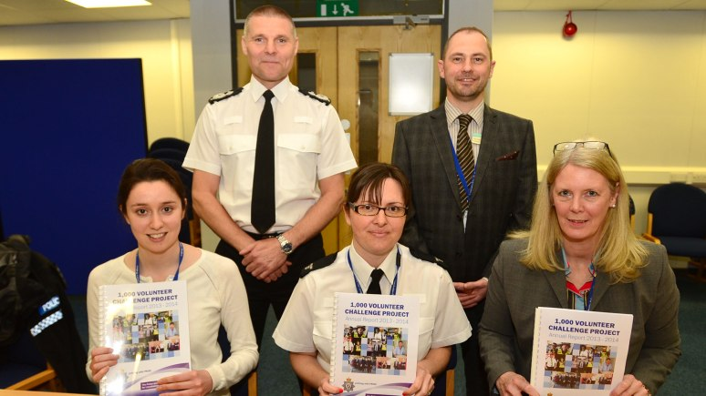 One-year review: (back row L-R) Deputy Chief Constable Keith Smy, Volunteering Project Manager Pete Dyer, and (front row L-R) Volunteer Assistant Coordinator Rebecca Rushton, Gillian Fleet, and Volunteer Coordinator Jackie Rowe. Photo: Steve Smailes for The Lincolnite