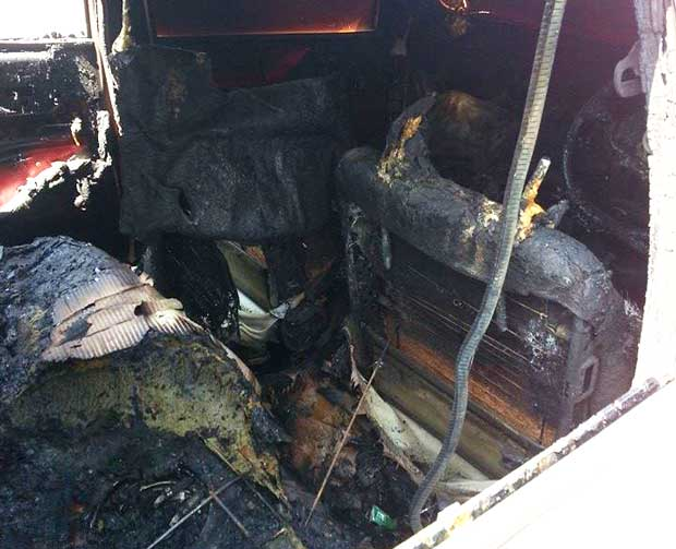 The aftermath of the fifth reported car fire this month in Lincoln.